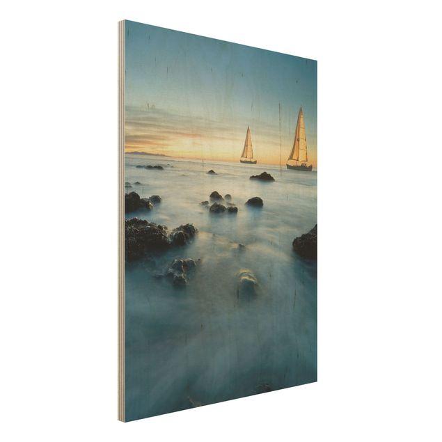 Holzbild Meer - Segelschiffe im Ozean - Hoch 3:4