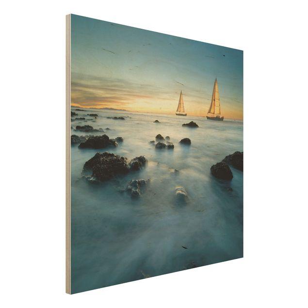 Holzbild Meer - Segelschiffe im Ozean - Quadrat 1:1