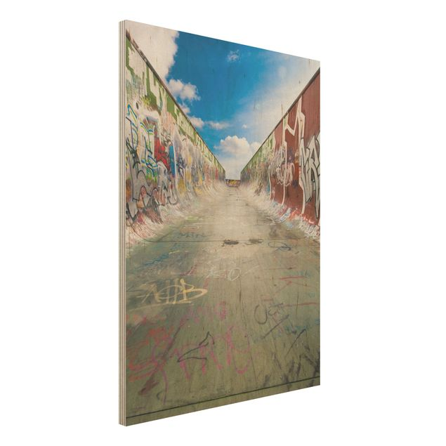 Wandbild Holz - Skate Graffiti - Hoch 3:4