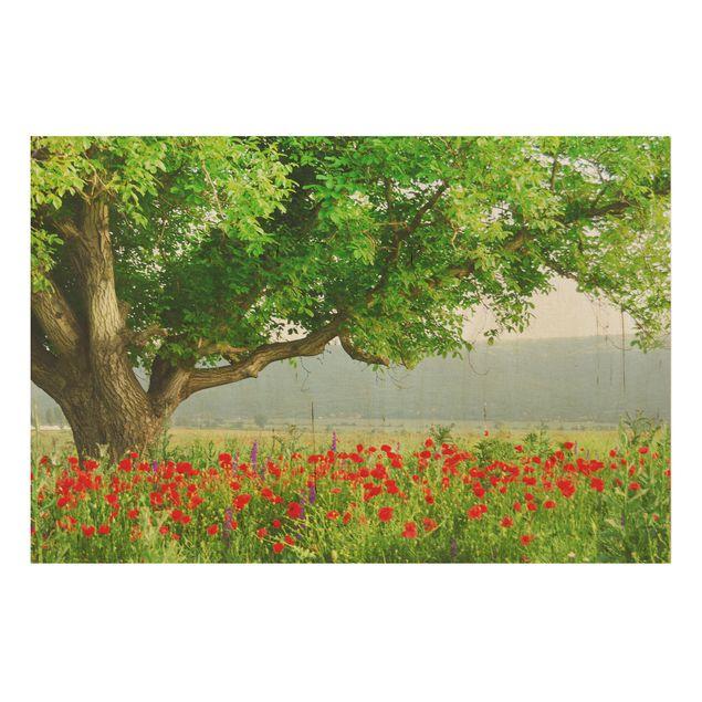 Kunstdruck auf Holz - Sommerwiese - Quer 3:2