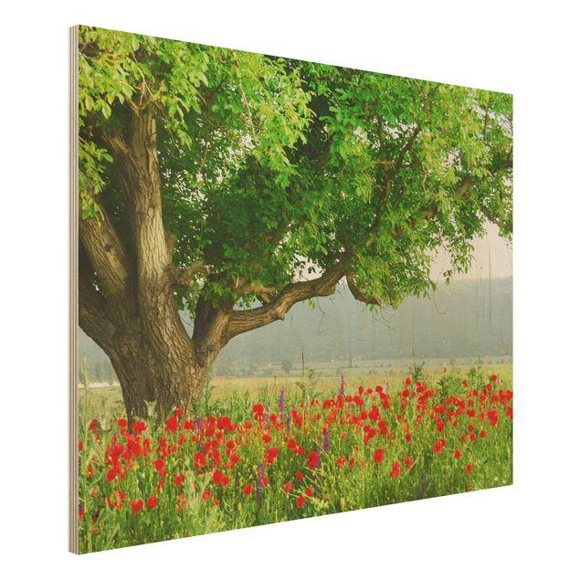 Kunstdruck auf Holz - Sommerwiese - Quer 4:3
