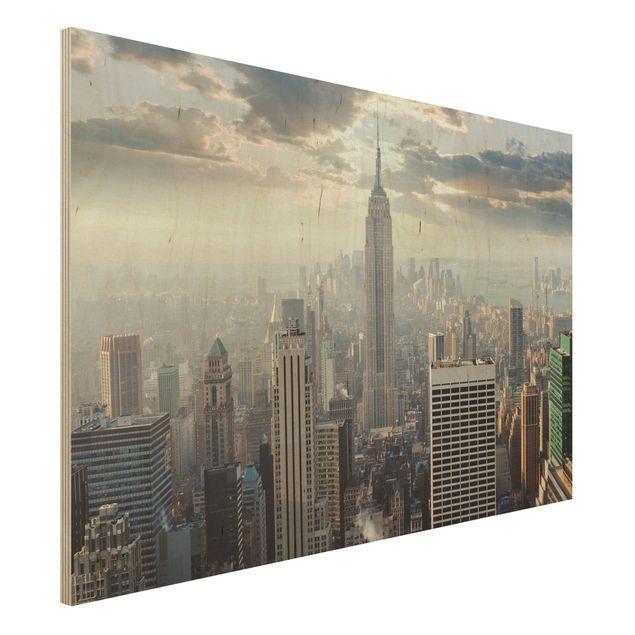 Holz Wandbild - Sonnenaufgang in New York - Quer 3:2