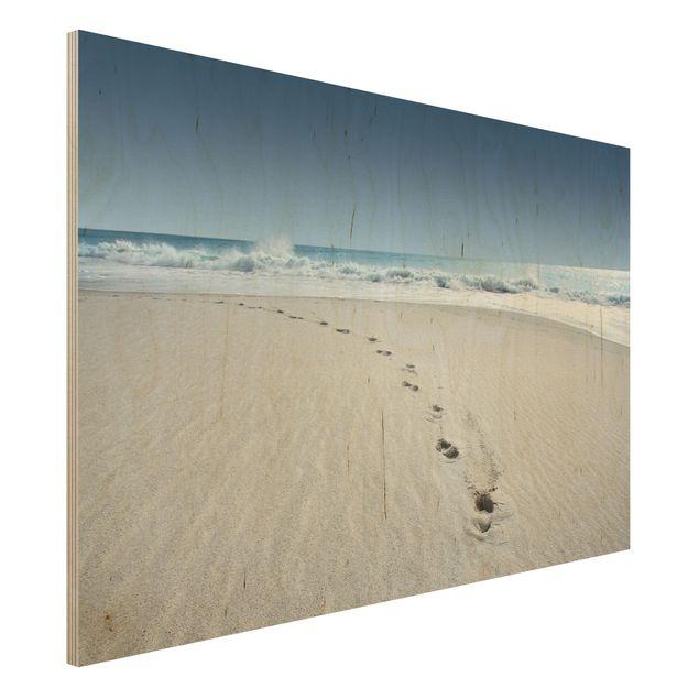 Holzbild Strand - Spuren im Sand - Quer 3:2