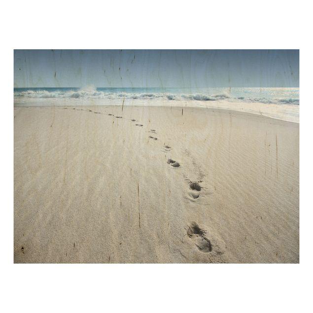 Holzbild Strand - Spuren im Sand - Quer 4:3