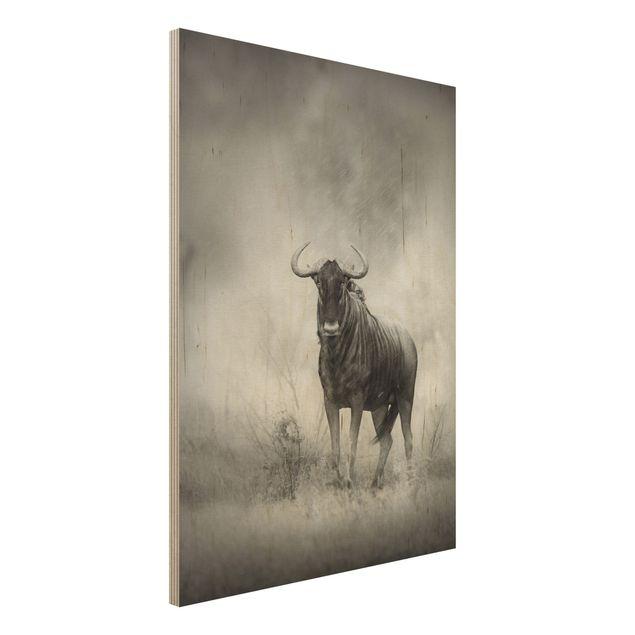 Holzbild - Staring Wildebeest - Hoch 3:4