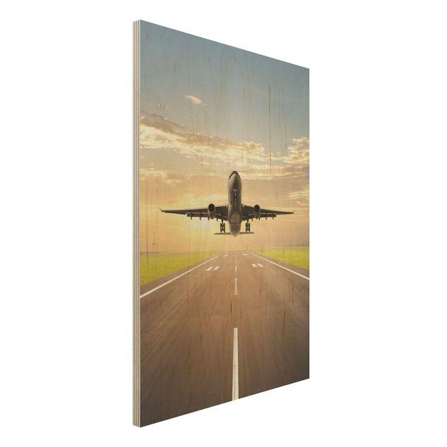 Holzbild - Startendes Flugzeug - Hoch 2:3