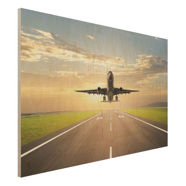 Holzbild - Startendes Flugzeug - Quer 3:2