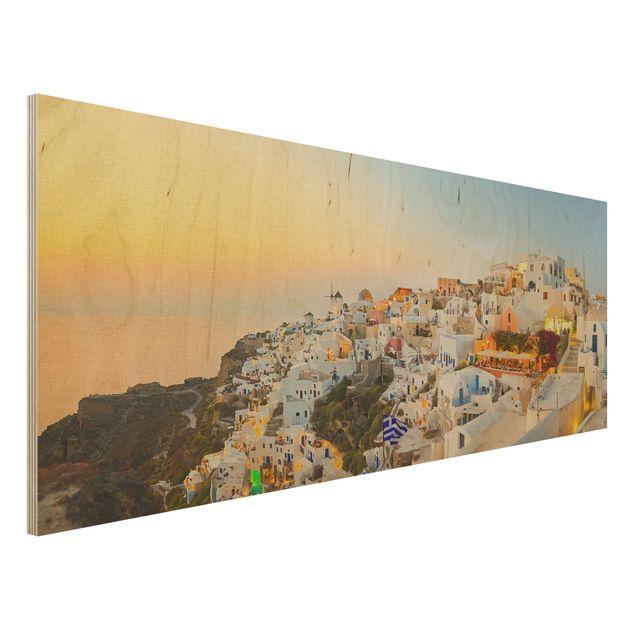 Holzbild - Strahlendes Santorin - Panorama Quer