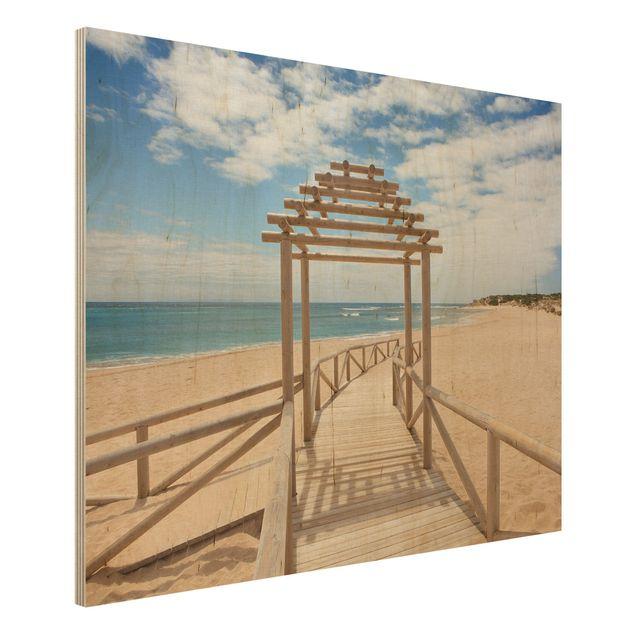 Holzbild Strand - Strandpfad zum Meer in Andalusien - Quer 4:3