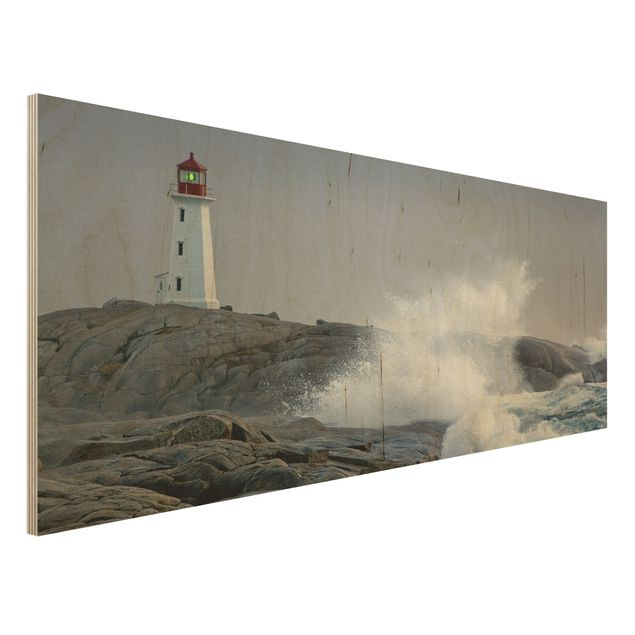Holzbild - Sturmwellen am Leuchtturm - Panorama Quer