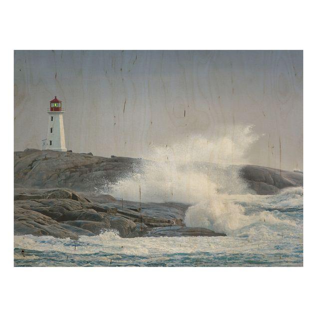 Holzbild - Sturmwellen am Leuchtturm - Quer 4:3