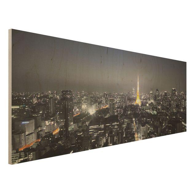 Holzbild - Tokio - Panorama Quer