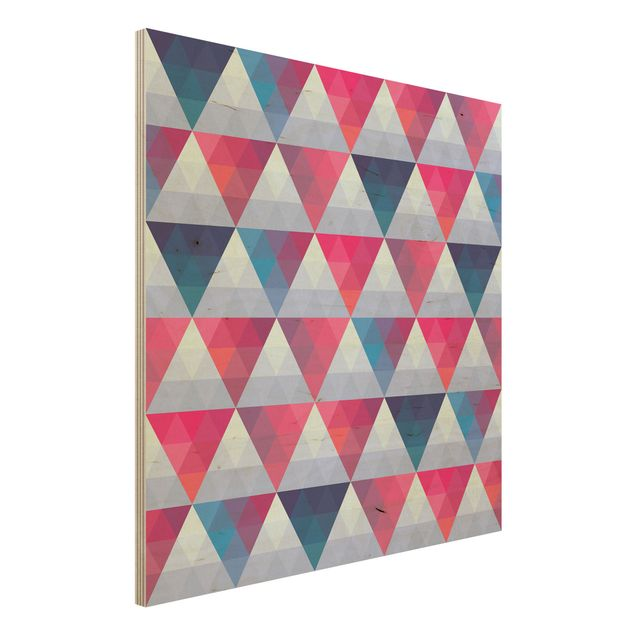 Wandbild aus Holz - Triangle Muster Design - Quadrat 1:1