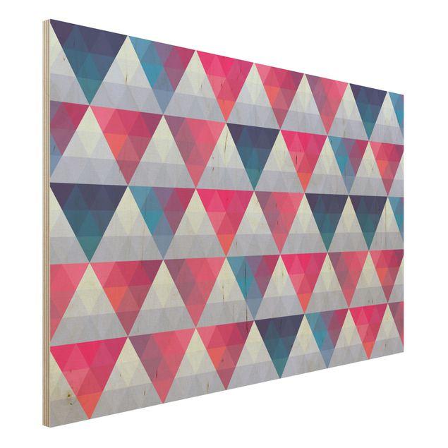 Wandbild aus Holz - Triangle Muster Design - Quer 3:2