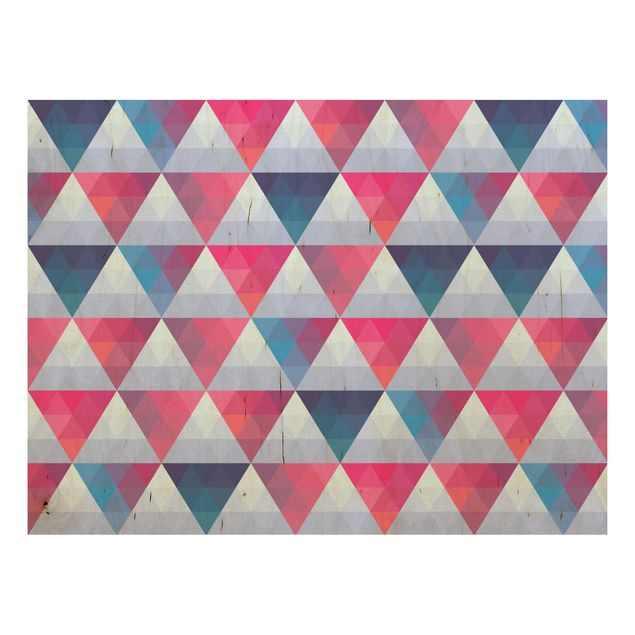Wandbild aus Holz - Triangle Muster Design - Quer 4:3