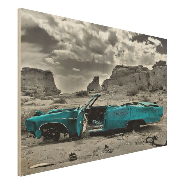 Holzbild - Türkiser Cadillac - Quer 3:2