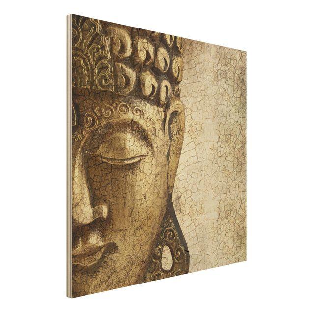 Holzbild Buddha - Vintage Buddha - Quadrat 1:1