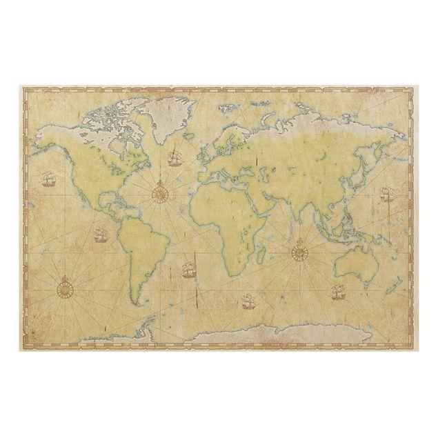 Holzbild Weltkarte - World Map - Quer 3:2