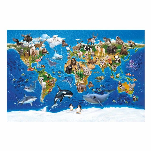 Kinder Fensterfolie Sichtschutz - Weltkarte mit Tieren - Fensterbild