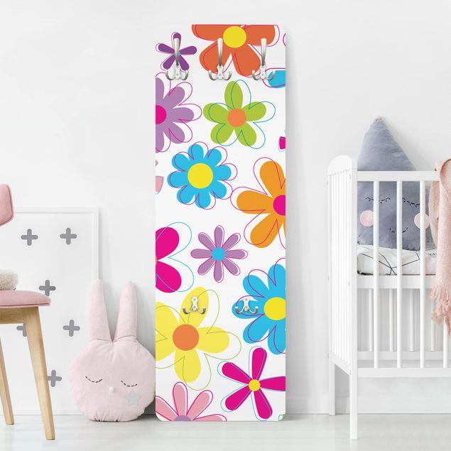 Kindergarderobe - Retro Blumen - Kinderzimmer