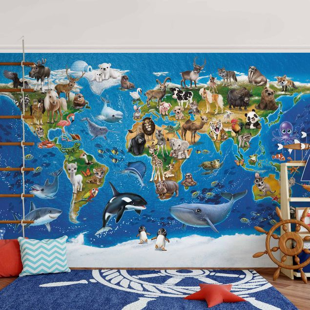 Fototapete Weltkarte mit Tieren