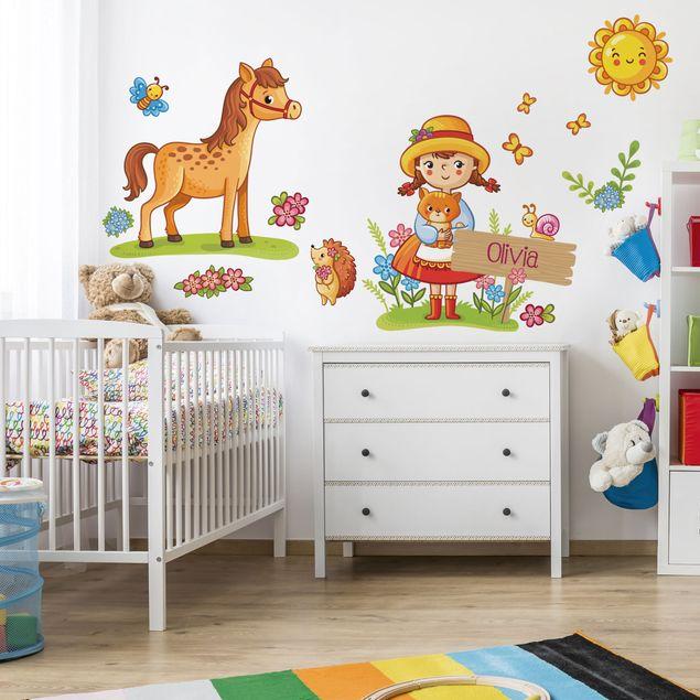 Kinderzimmer Wandtattoo Landmädchen mit Wunschname