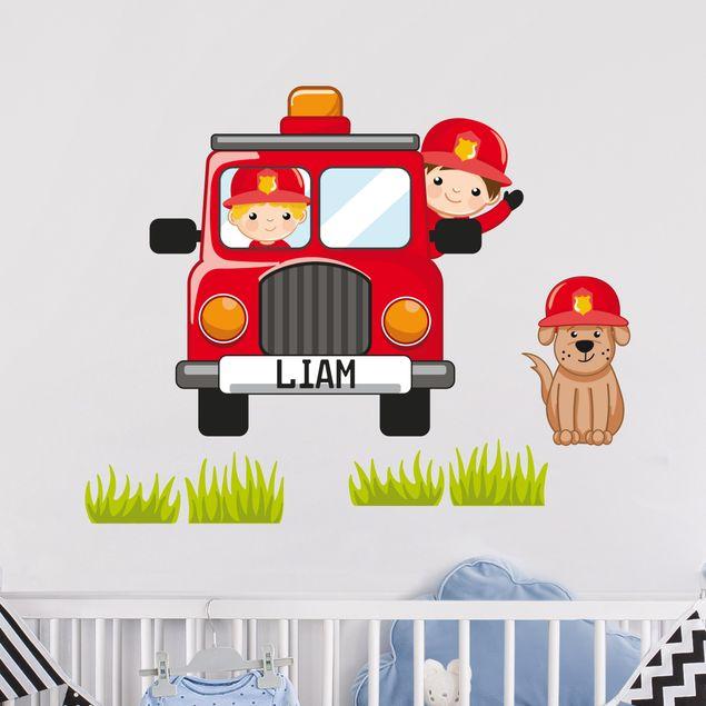 Kinderzimmer Wandtattoo Feuerwehr-Set mit Wunschname