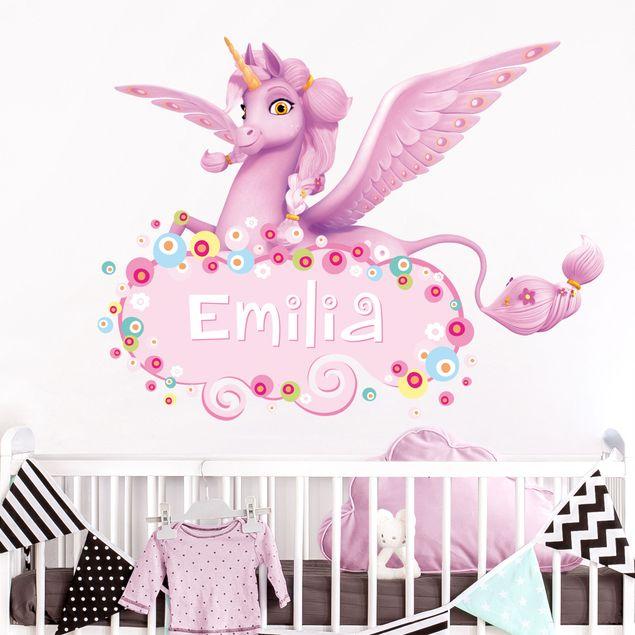 Kinderzimmer Wandtattoo mit Wunschtext - Mia and Me - Einhorn Kyara mit Wunschname