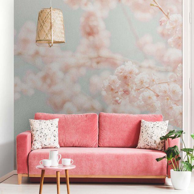 Metallic Tapete - Kirschblüten Glow