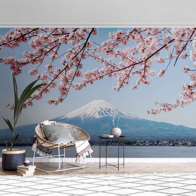 Metallic Tapete - Kirschblüten mit Berg Fuji