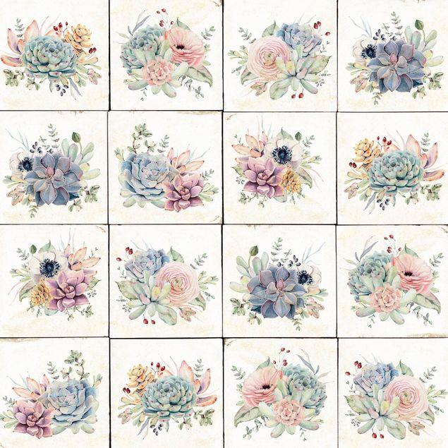 Klebefolie - Aquarell Blumen Landhaus