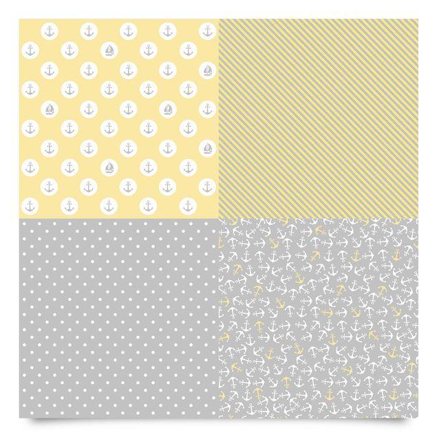 Klebefolie grau gelb - Maritimes Kachel-Set mit Anker, Streifen und Punkten - Dekofolie