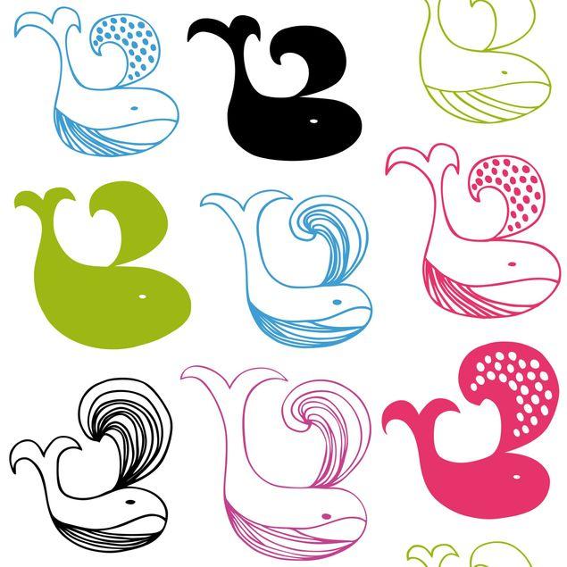 Klebefolie - Kinderzimmer-Muster mit Blauwalen - Selbstklebende Folie