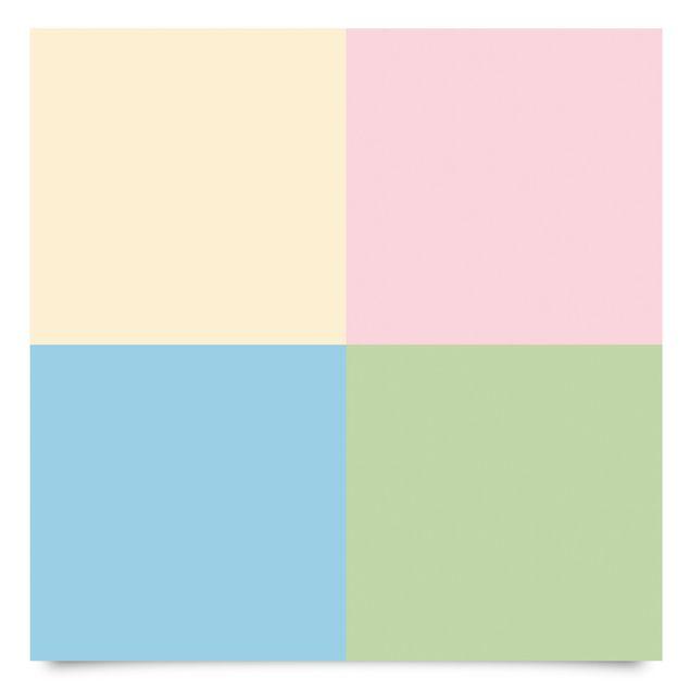 Klebefolie Kinderzimmer - Set mit 4 schönen Pastellfarben - Crème Rosa Pastellblau Mint