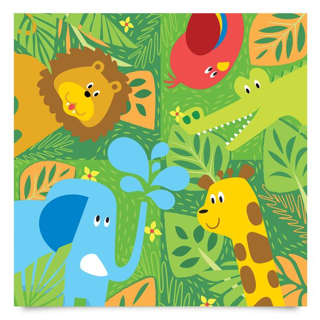 Klebefolie Kinderzimmer - Süße Zootiere Set - Elefant Löwe Giraffe Krokodil - Dekofolie