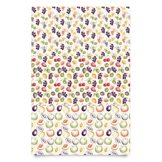Klebefolie Küche Set - 3 handgezeichnete Früchte Muster - Landhaus Dekofolie
