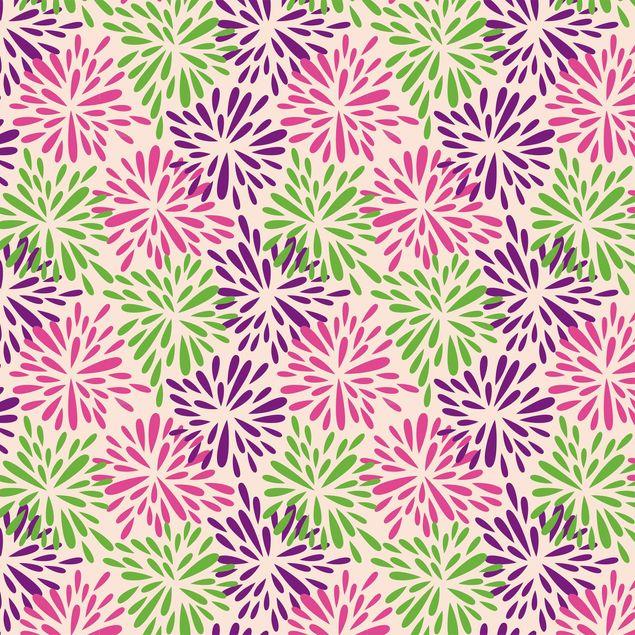 Klebefolie - Modernes florales Muster mit abstrakten Blumen - Selbstklebende Folie