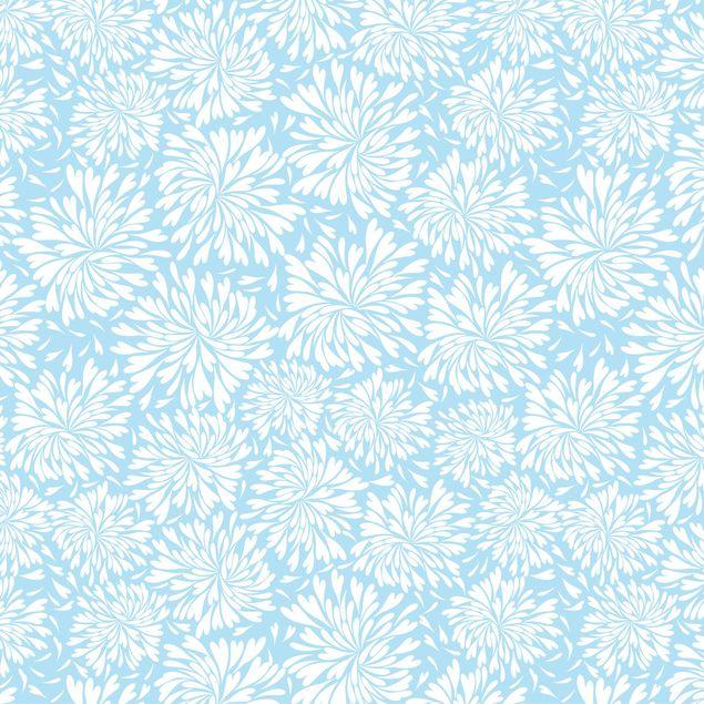 Klebefolie - Modernes skandinavisches Blumenmuster hell-blau - Selbstklebefolie