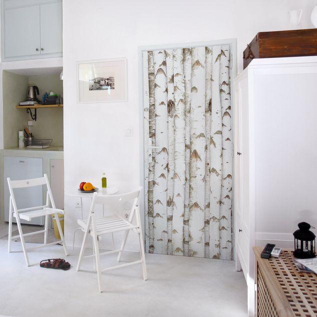 Klebefolie Birke - Birkenwand aus weißen Birkenstämmen - Holzfolie selbstklebend