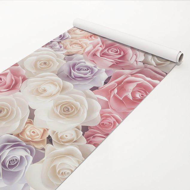 Klebefolie - Pastell Paper Art Rosen - Dekorfolie