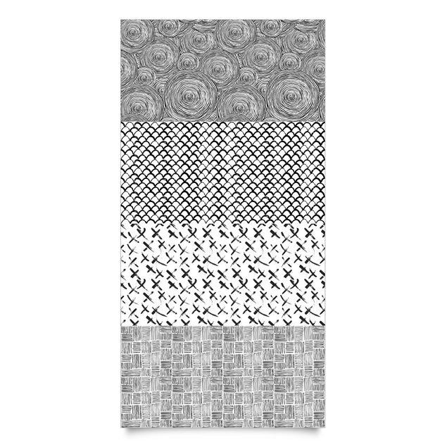 Klebefolie schwarz weiß - Set aus 4 modernen Pinselstriche-Mustern - Selbstklebefolie