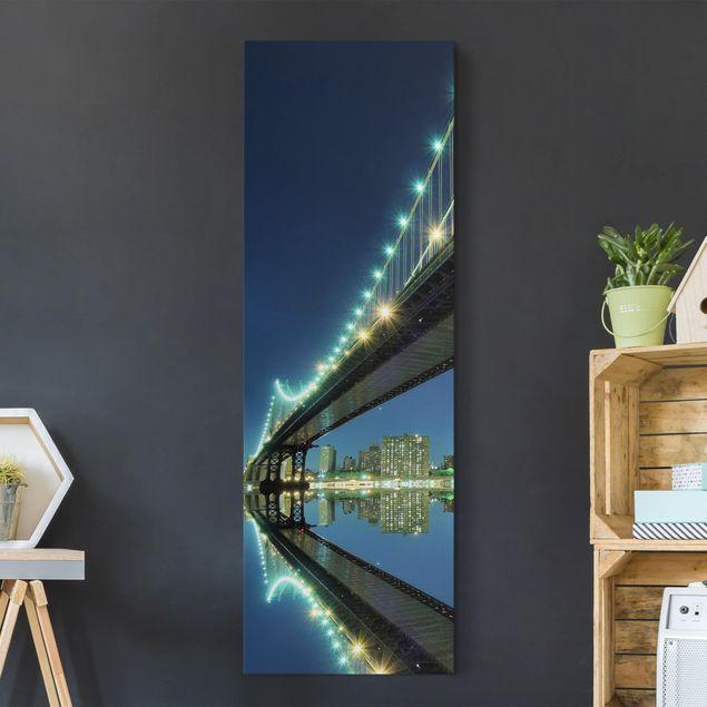Leinwandbild - Abstract Manhattan Bridge - Panorama Hoch
