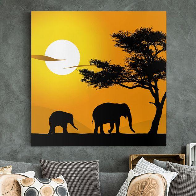 Afrika Leinwandbild African Elefant Walk - Gelb, Schwarz, Quadrat 1:1