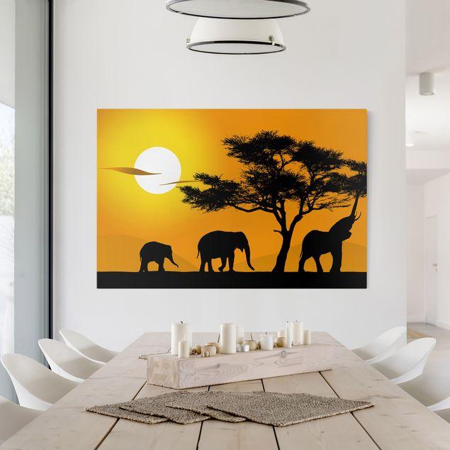Afrika Leinwandbild African Elefant Walk - Gelb, Schwarz, Quer 3:2