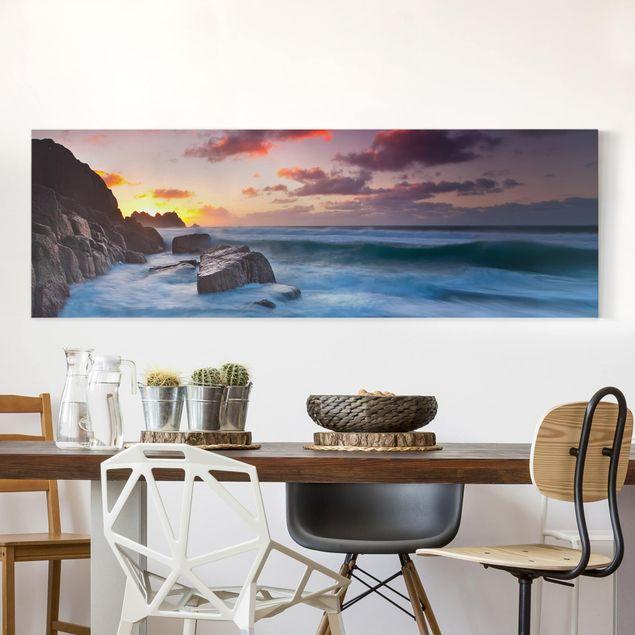 Leinwandbild - Am Meer in Cornwall - Panorama Quer