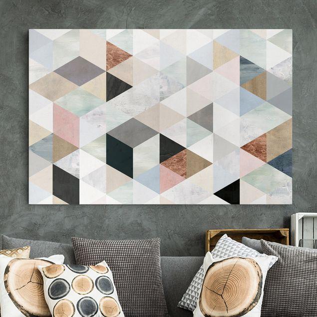 Leinwandbild - Aquarell-Mosaik mit Dreiecken I - Querformat 2:3