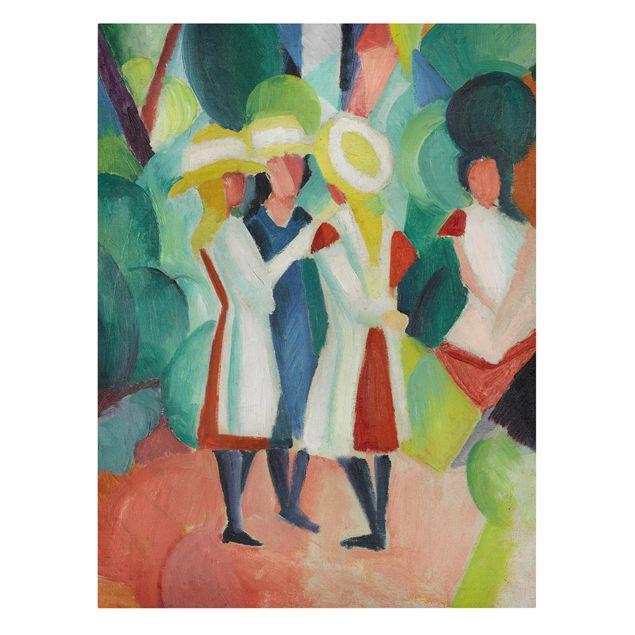 Leinwandbild - August Macke - Drei Mädchen mit gelben Strohhüten - Hoch 3:4