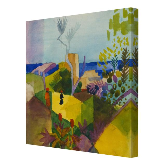 Leinwandbild - August Macke - Landschaft am Meer - Quadrat 1:1