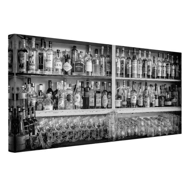 Leinwandbild - Bar Schwarz Weiß - Querformat 2:1