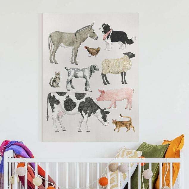 Leinwandbild - Bauernhof Tierfamilie II - Hochformat 4:3